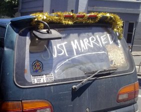 Reason to smile no. 2 - The car with just married emblazoned all over it.
