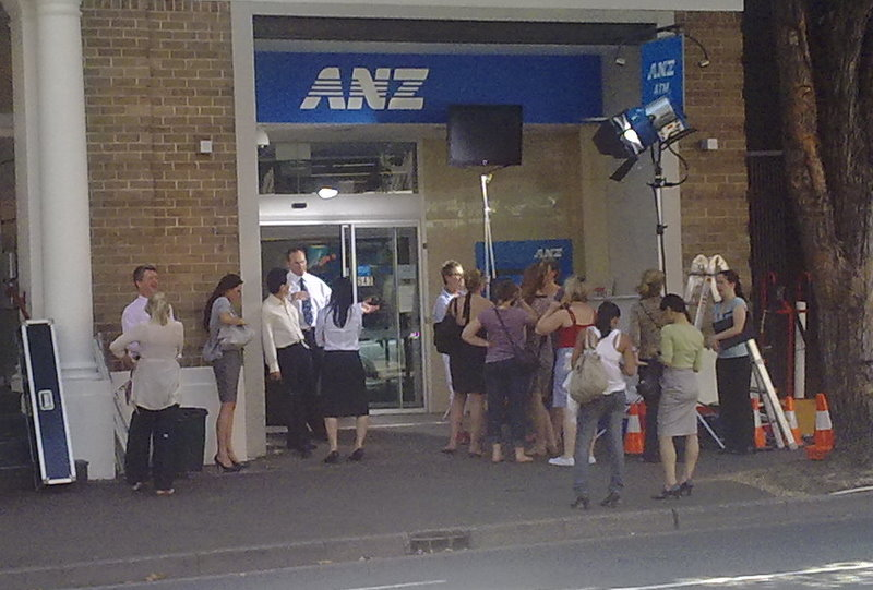 Filming ANZ commercial on Crown Street