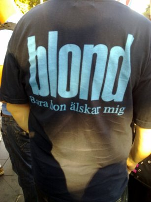 Graeme wears Blond t-shirt of early 90s Swedish pop band with the translation only she loves me.