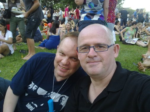 Graeme and James in the alcohol zone at Sydney Festival