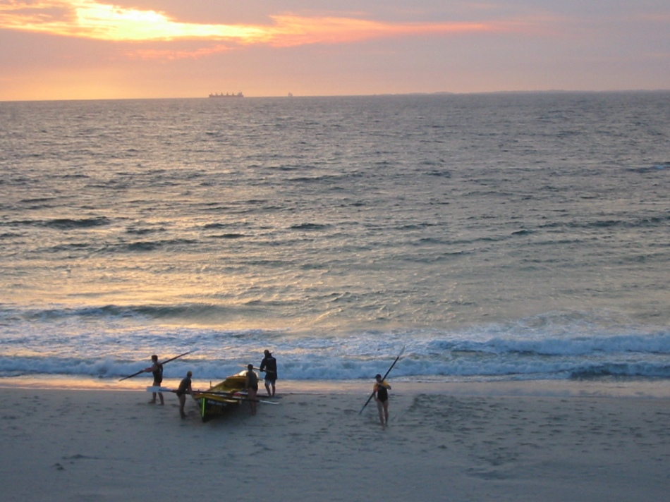 View of Cottesloe Beach at sunset from Indiana Teahouse, Perth