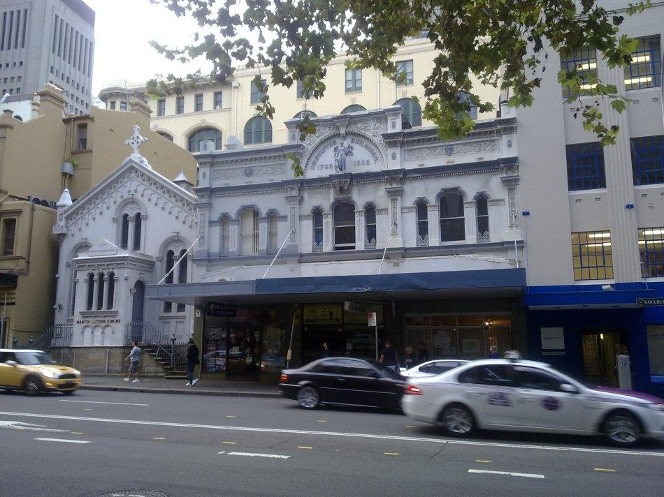 Lutheran Church and Cafe Svensson on Goulburn Street, Sydney