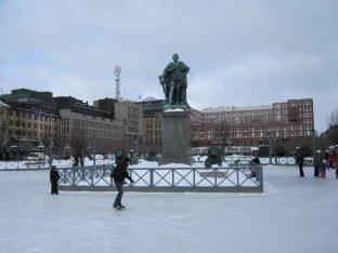 Ice skating at Kungstradgarden