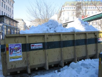 Snow and ice ready to be taken away from near Berns
