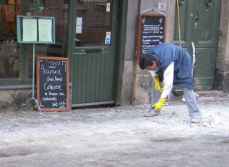 Breaking up the ice with a hammer
