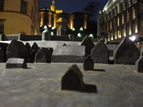 Miniature Helsingborg in foreground, castle in background