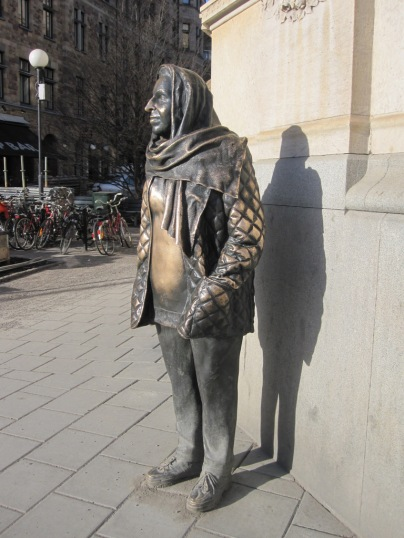 Great statue at Royal Dramatic Theatre. Staring into the sun as many Stockholmers do at the moment.