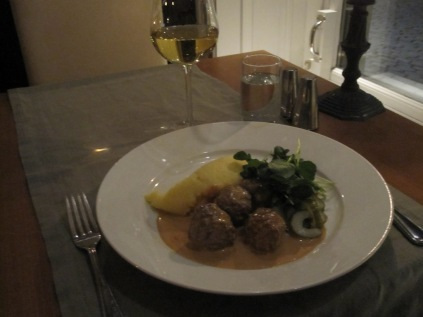 My last evening meal - meatballs of course