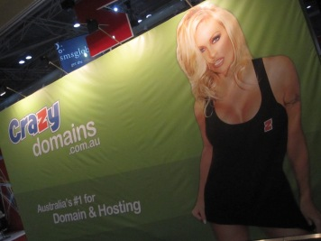 Sexy ladies in shorts selling domain names at CeBIT