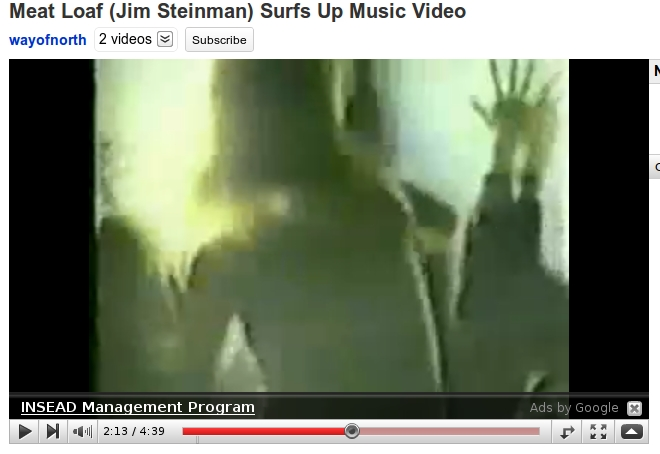 Meatloaf video clip for the song Surfs Up