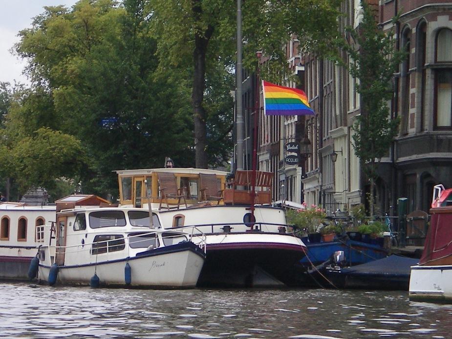 Rainbow flag flies high in Amsterdam