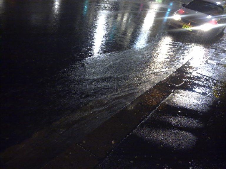 Wet and slippery on Goulburn Street in Sydney