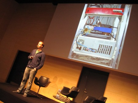 Peter Sunde Kolmisoppi from Pirate Bay with the original servers at Radio Days Conference in Denmark