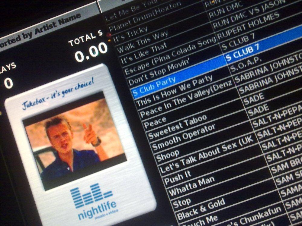 S Club 7 plays on the video jukebox
