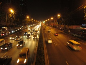 The heavy traffic at night