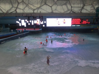 The fake beach inside the Beijing Water Cube