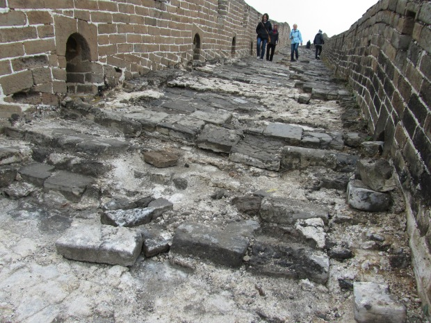 Lots of broken steps on the Great Wall of China