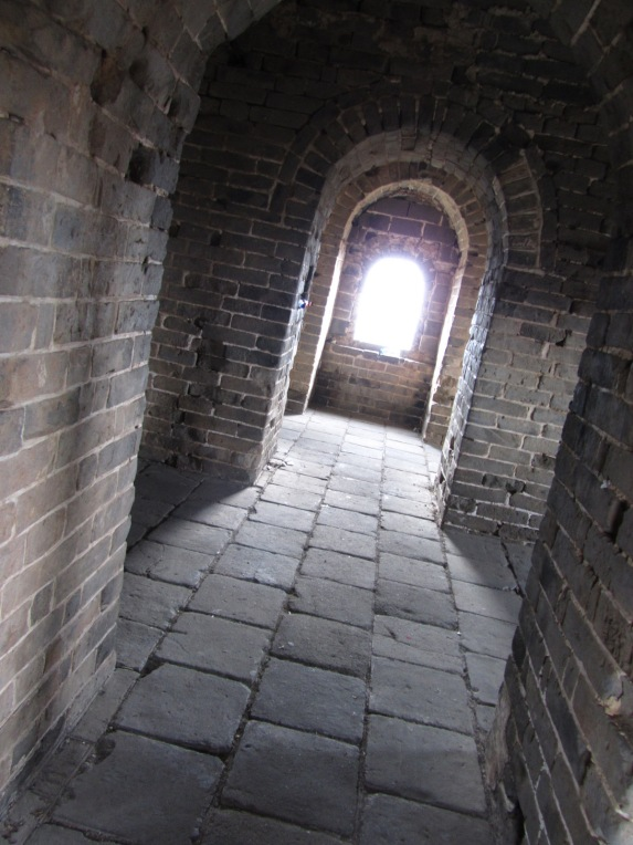 Inside one of the towers of the Great Wall of China