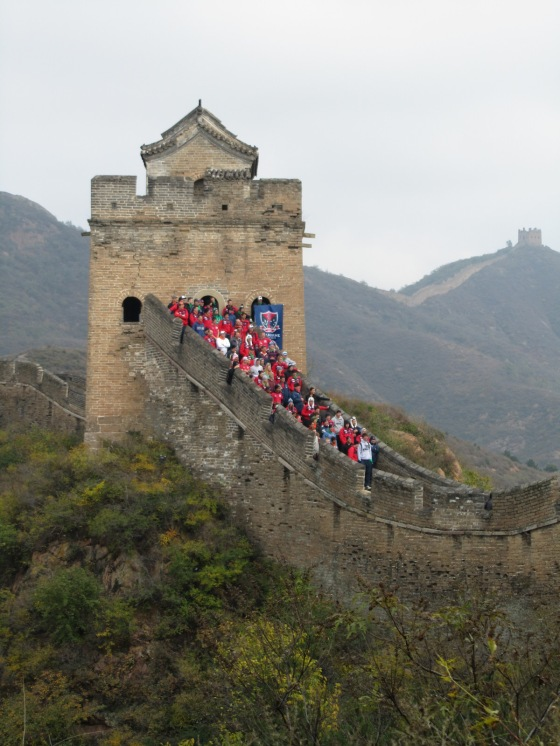 130 supporters of Melbourne FC who we bumped into on the Great Wall of China