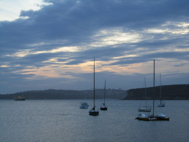 Sunset views at Manly in Sydney, taken from 16ft skif club