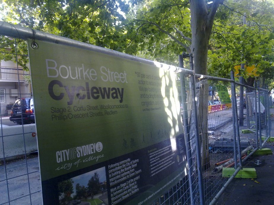 Bourke Street cycleway under construction