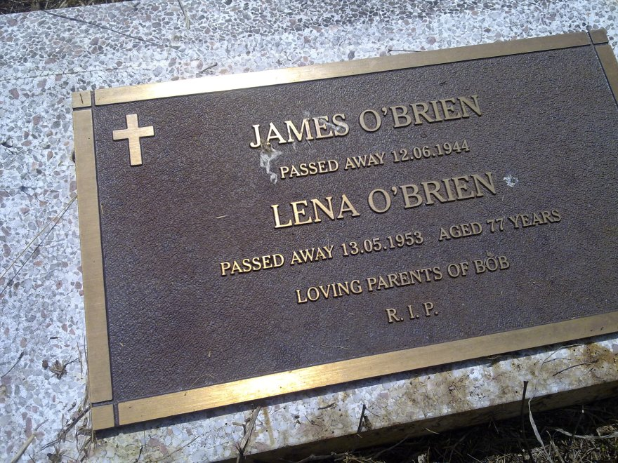 Grave for James O'Brien and Lena Noonan at East Lismore Cemetery