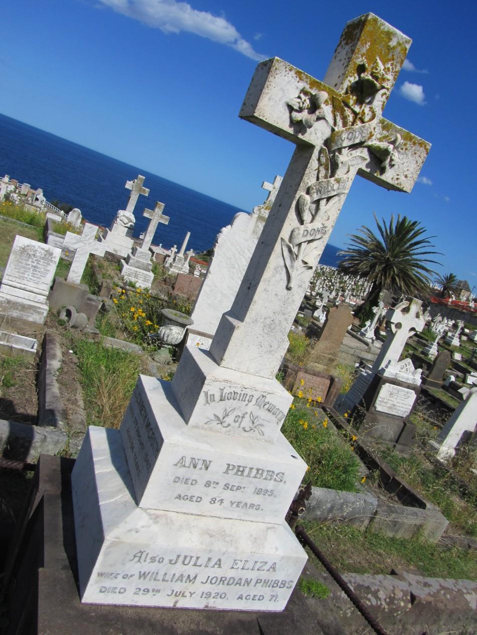 The grave of Ann Phibbs, Waverley Cemetery, Sydney