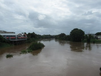 The normal narrow channel of the Wilsons River at Lismore expanded