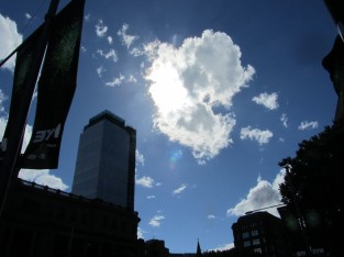 Looking skywards near Central Station, Sydney