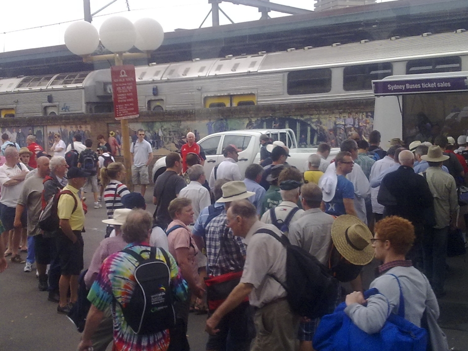 Queues for the public transport to the cricket in Sydney