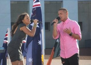 Jessica Mauboy and Stan Walker perform Waltzing Matilda