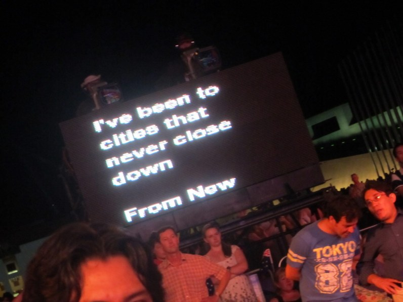 And in case you've forgotten the words, there's an autocue