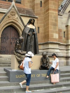 Mary MacKillop statue at St Marys Cathedral in Sydney