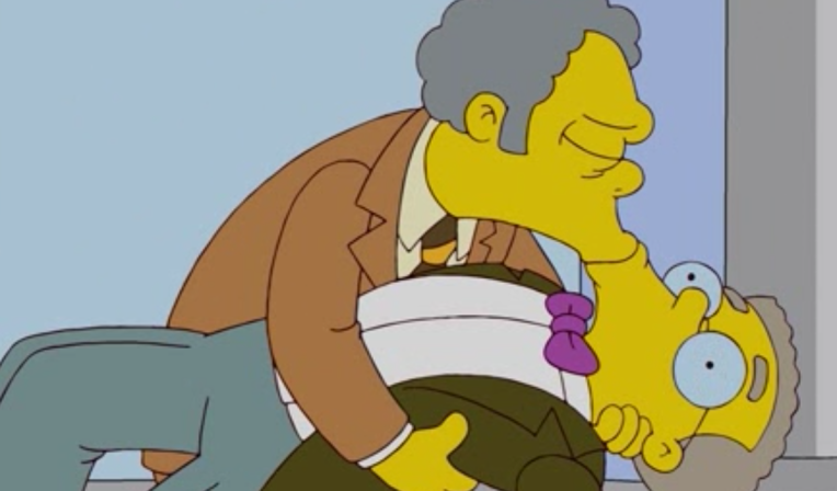 Moe and Smithers kissing on The Simpsons