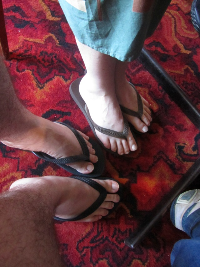 James and Vanessa wearing almost matching thongs at The Huntsbury