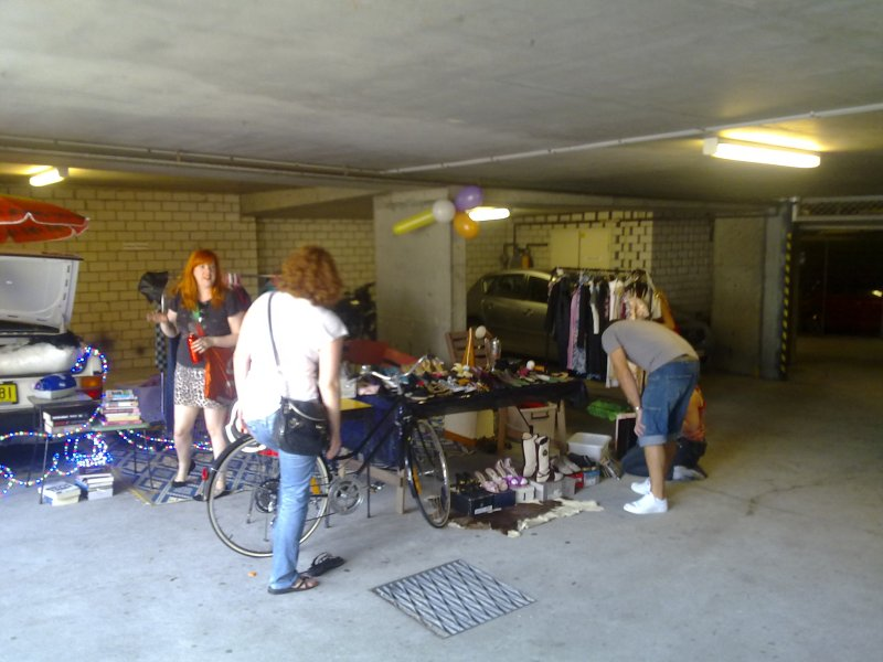 Garage sale in the downstairs carpark