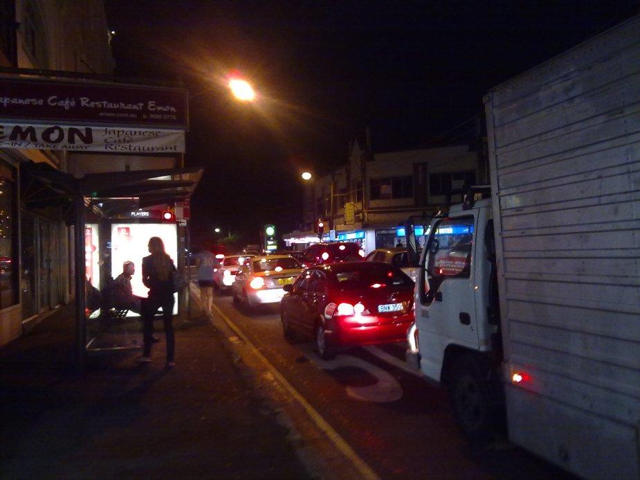 Getting dark on Cleveland Street, Surry Hills