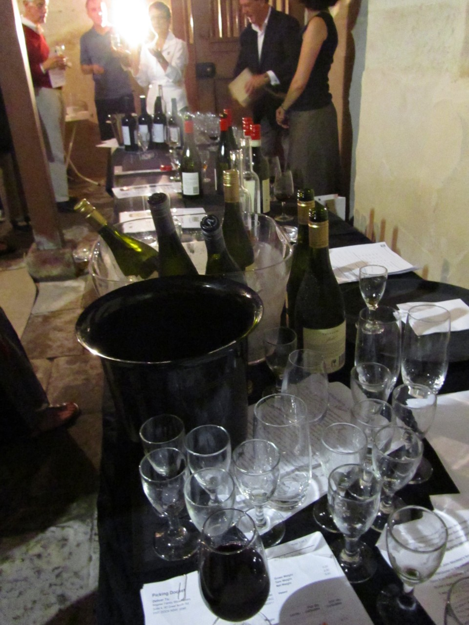 Tasting in the cellar at Elizabeth Bay House