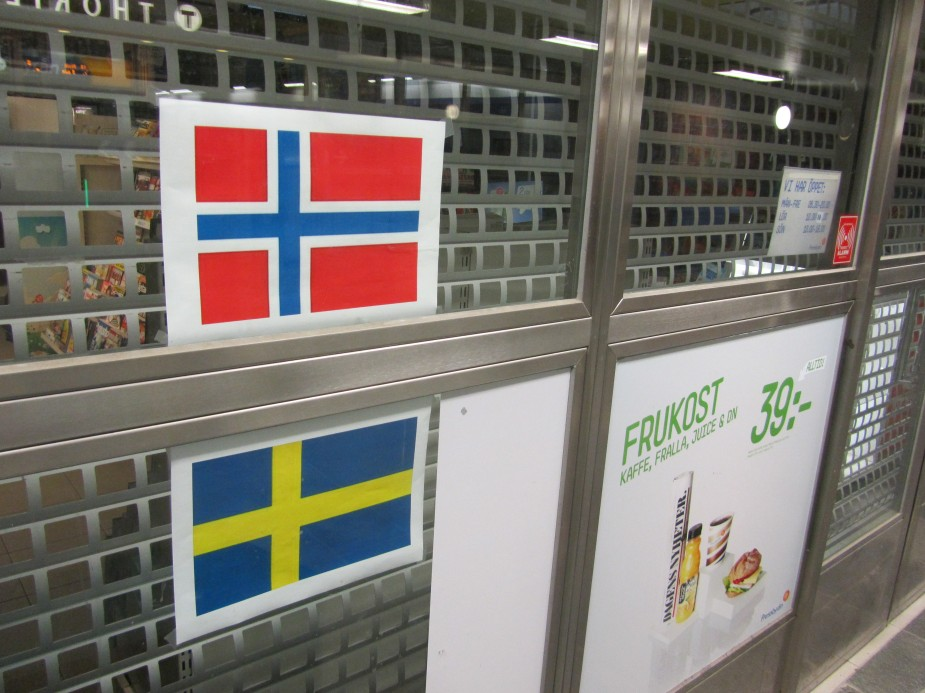 My local newsagent - Pressbyran at Thorildsplan in Stockholm - in solidarity/friendship with Norway