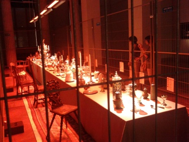 Long banquet table at National Museum in Stockholm