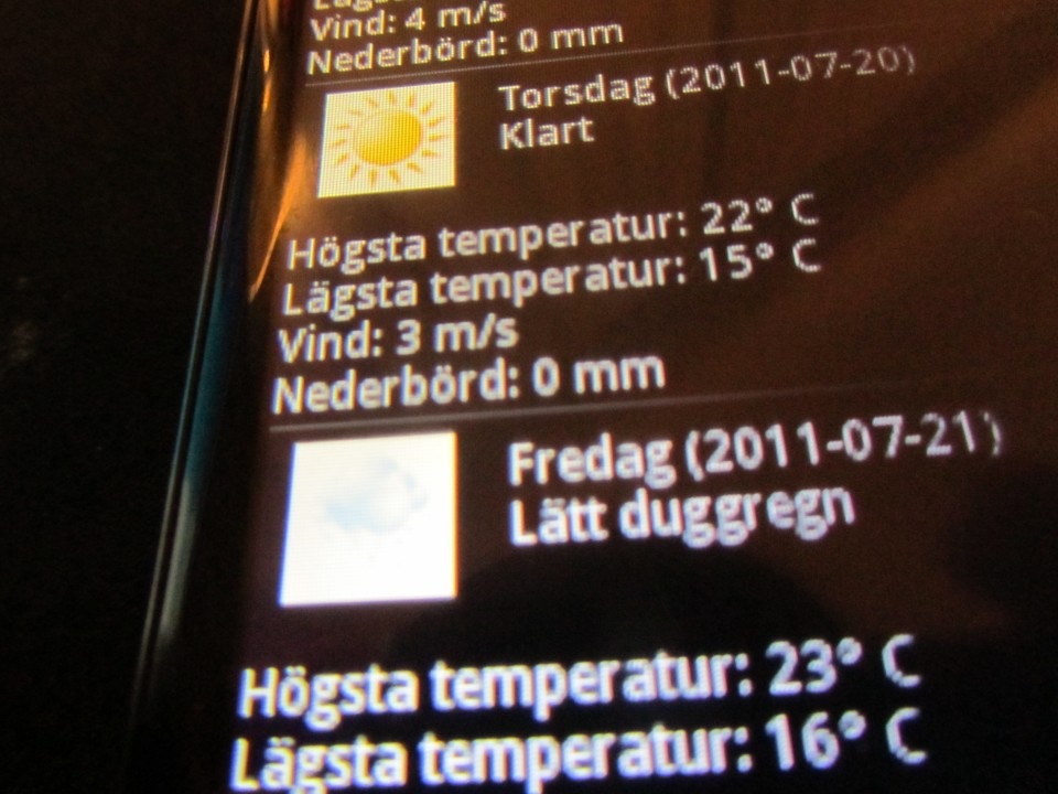 Weather for Stockholm