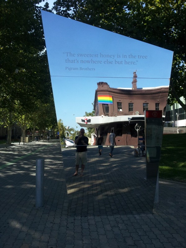 Public art, thoughtful words from the Pigram Brothers, and the perfect place to check your hair and make-up before heading to The Court Hotel in Perth, Western Australia.