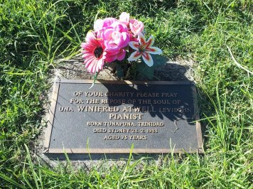 Winifred Atwell grave at South Gundurimba near Lismore, NSW, Australia