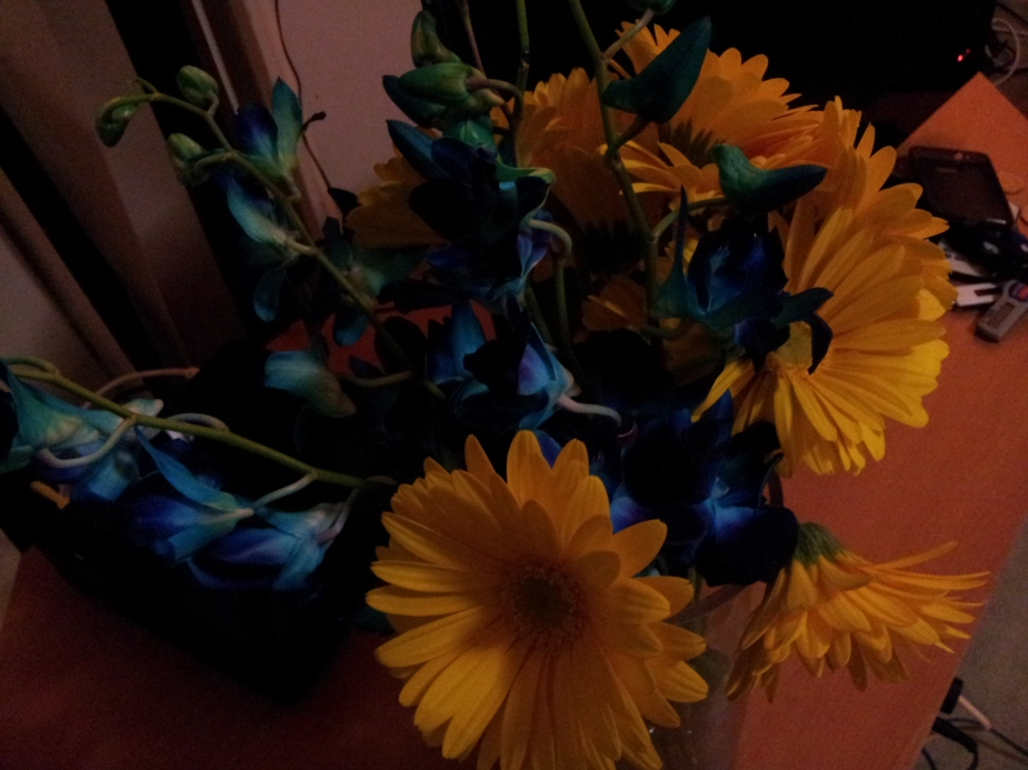 Blue and Yellow flowers next to the television, of course