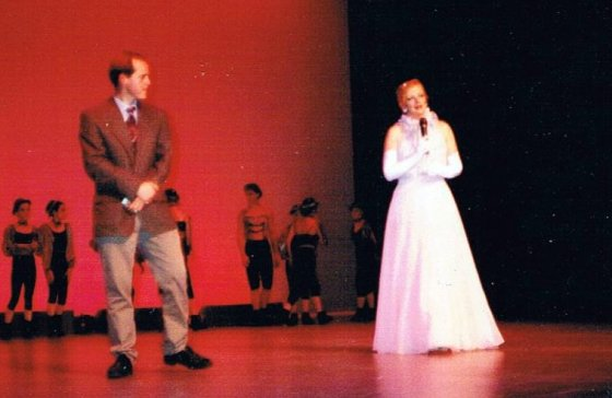 James O'Brien and Jacqui Conroy/Yelland on stage at the Chaffey Theatre, Renmark