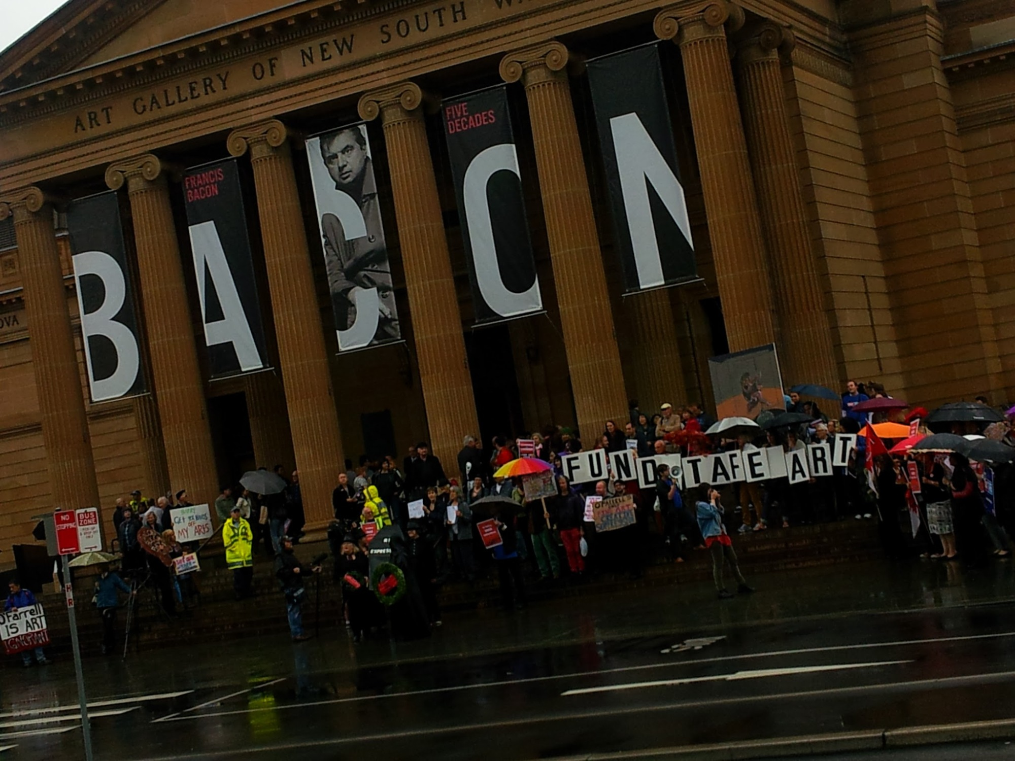 TAFE Art Cuts Protest outside AGNSW