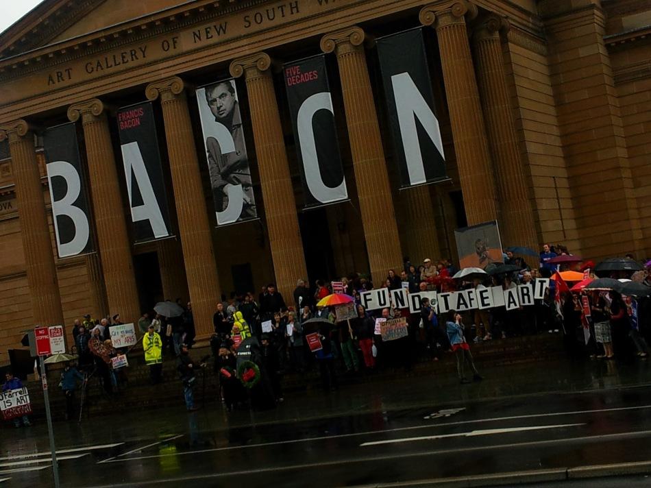 TAFE Art Cuts Protest outside AGNSW