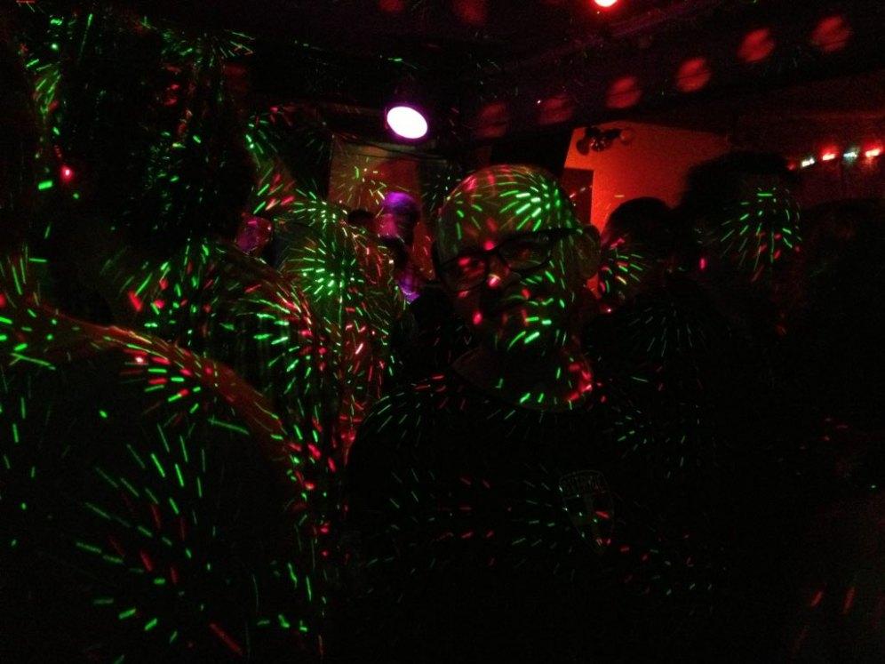 Christmas lights on the dance-floor at Palms.