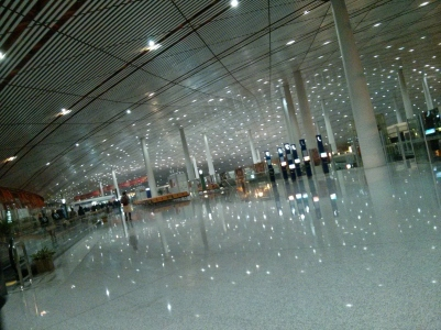 Sparkles at Beijing Airport at 5.45am
