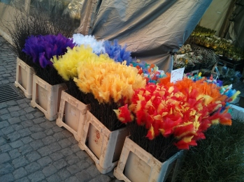 Feather flowers which signal the countdown to Easter in Sweden